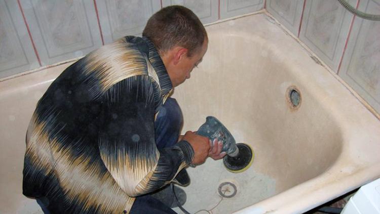 Чистка ванной перед реставрации