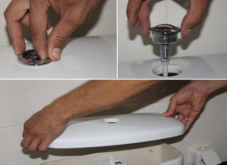 Последовательность снятия крышки с унитаза