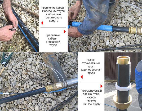 Крепление кабеля к обсадной трубе при установке насоса