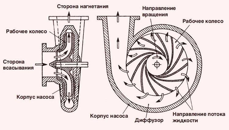 Принцип действия центробежного насоса для воды