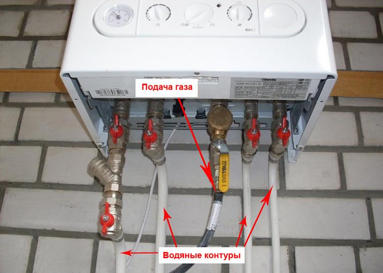 Подключение газа и водяных контуров котла